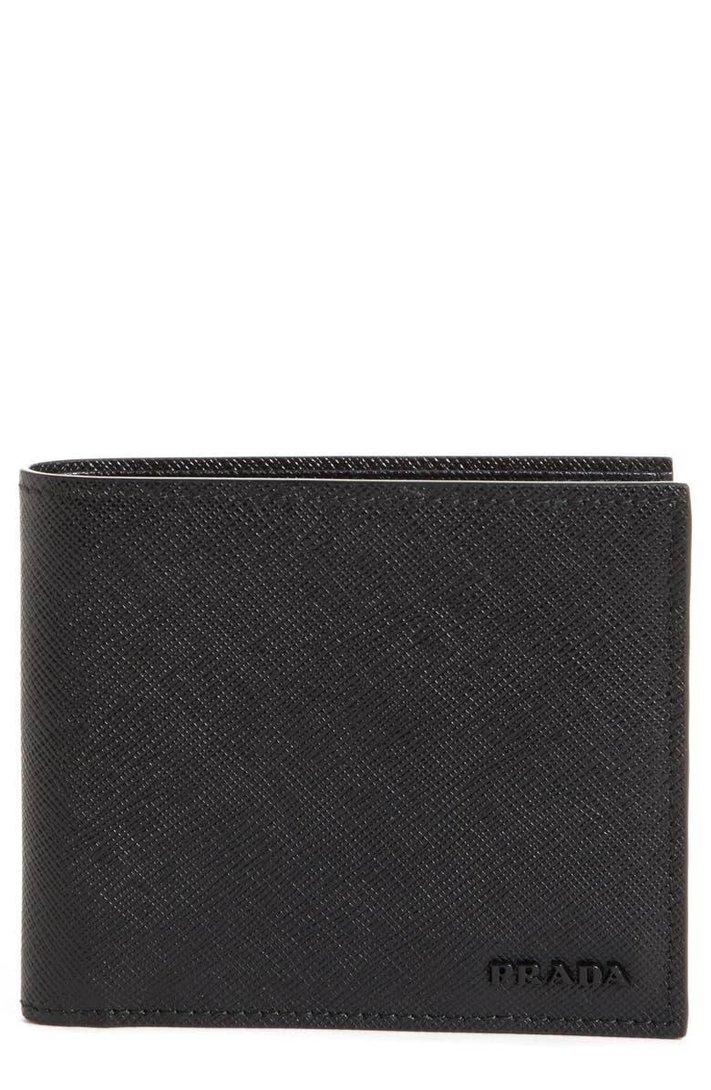 PRADA Saffiano Leather Bifold Wallet, Main, color, 001