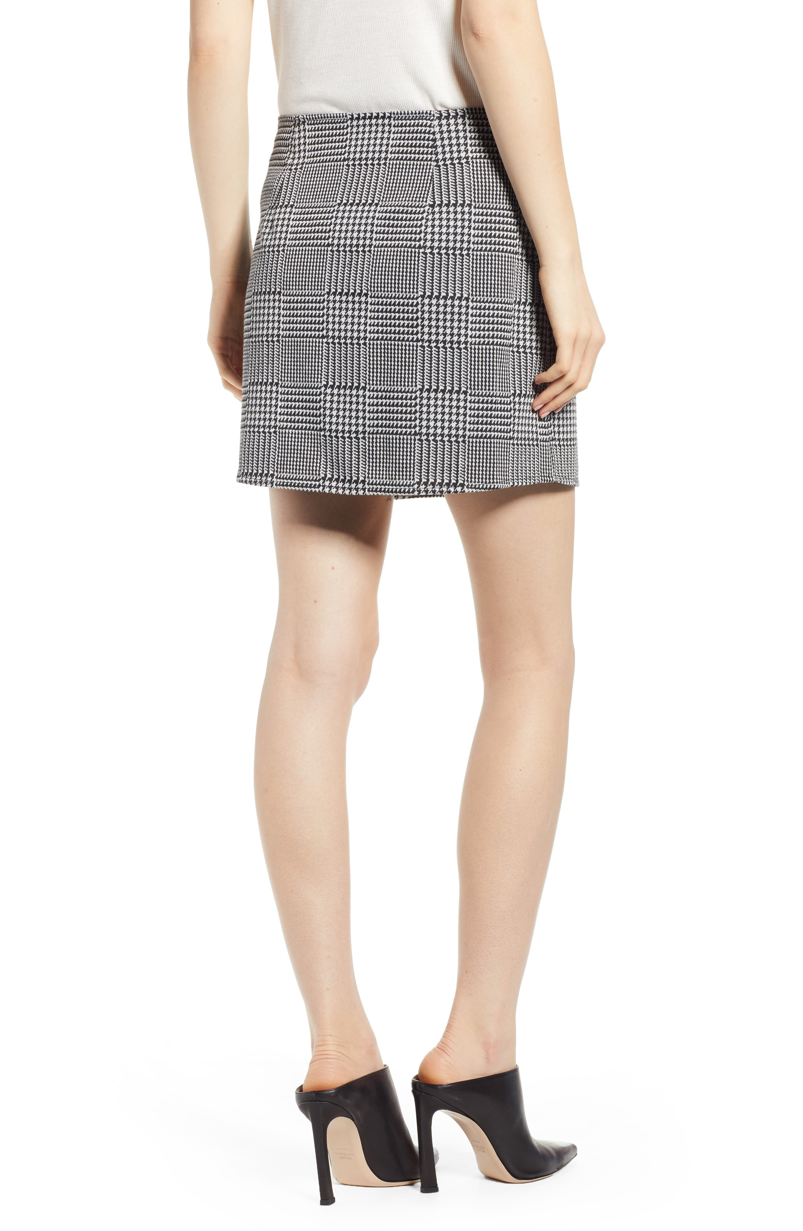 ,                             Houndstooth Check Button Wrap Skirt,                             Alternate thumbnail 2, color,                             PLAID