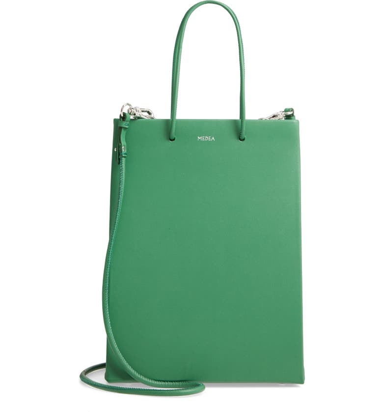 MEDEA Prima Tall Leather Bag, Main, color, DEEP GREEN