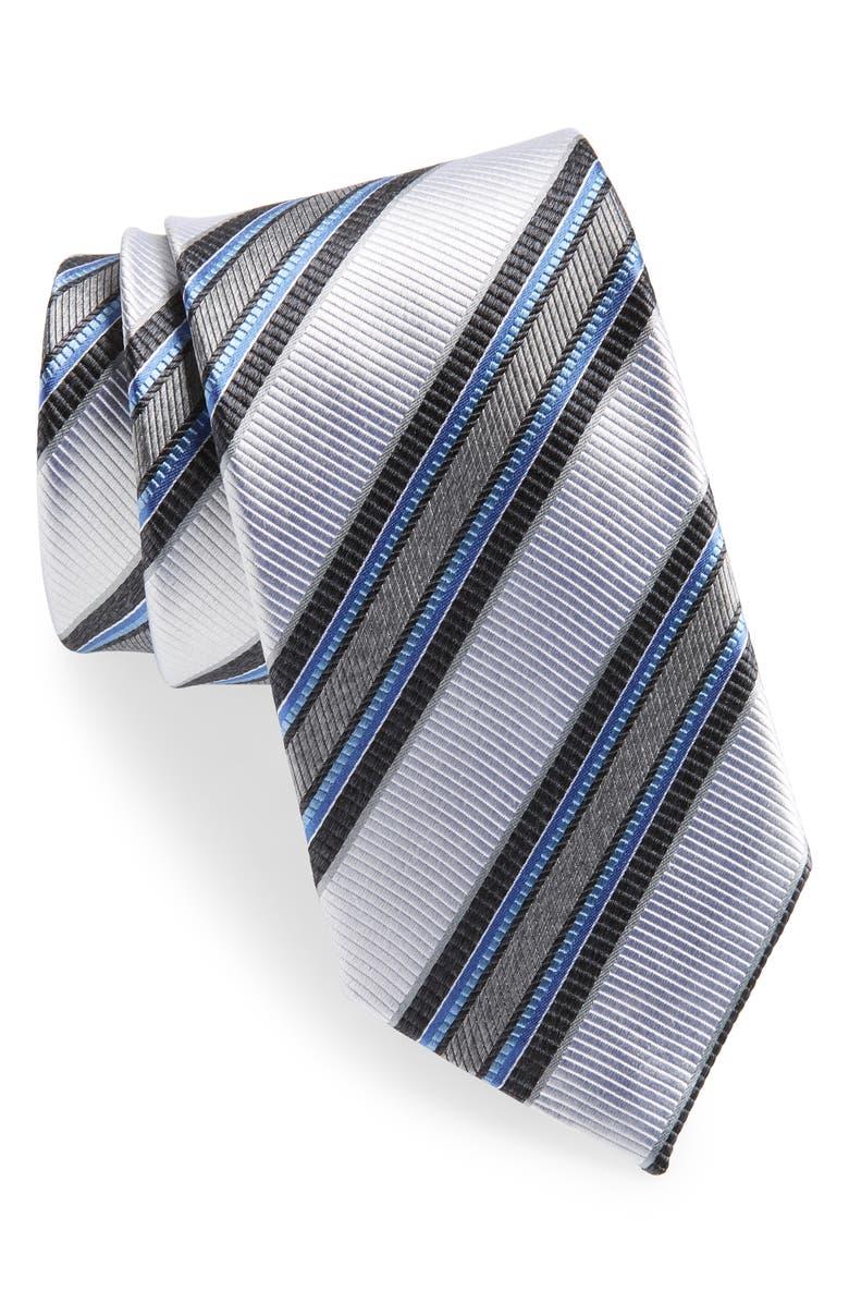 NORDSTROM MEN'S SHOP Stripe Silk Tie, Main, color, SILVER