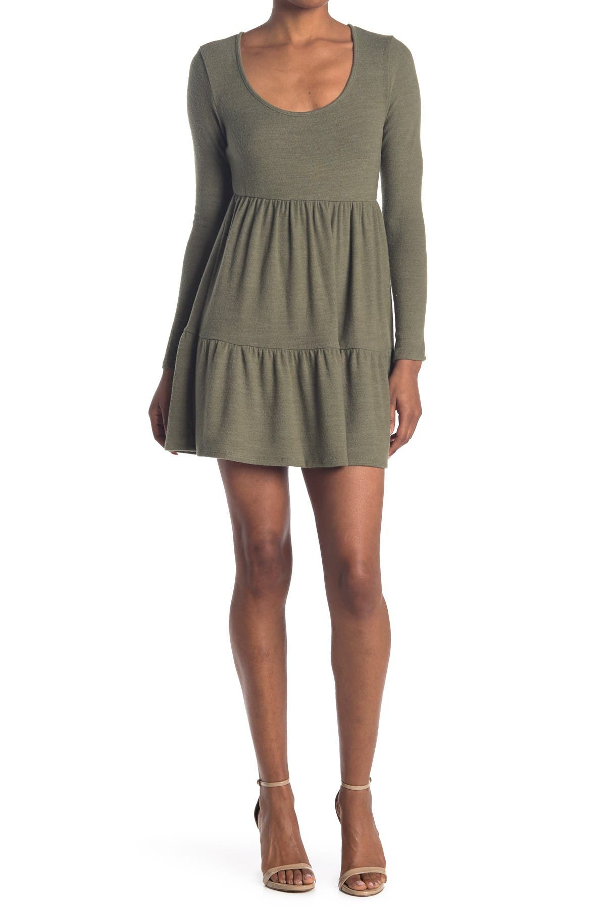 Image of ROW A Scoop Neck Long Sleeve Tiered Mini Dress