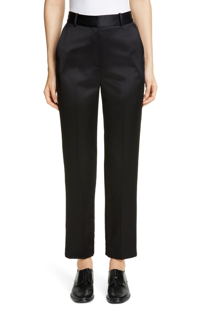 PARTOW Sawyer Bonded Satin Trousers, Main, color, BLACK