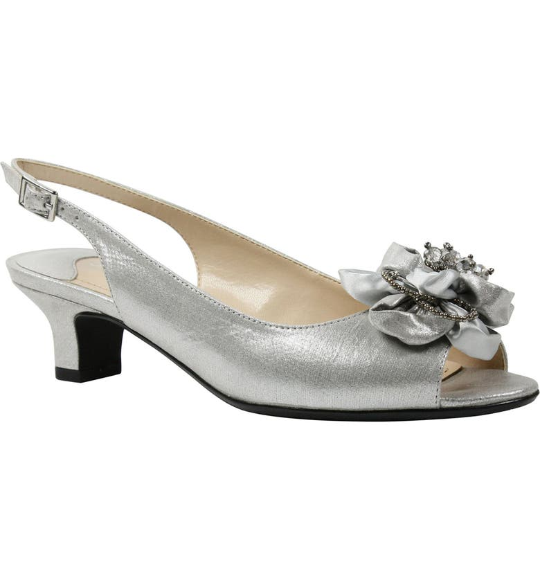 J. RENEÉ Leone Slingback Crystal Embellished Sandal, Main, color, SILVER SATIN