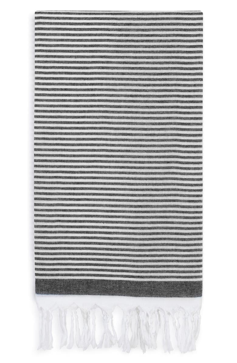 LINUM HOME TEXTILES Soft Stripes Turkish Pestemal Towel, Main, color, BLACK