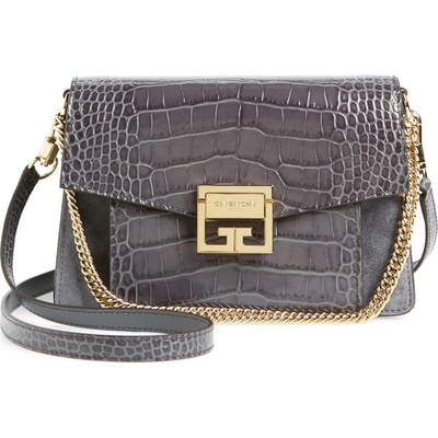 Givenchy Small Gv3 Leather & Suede Crossbody Bag - Grey