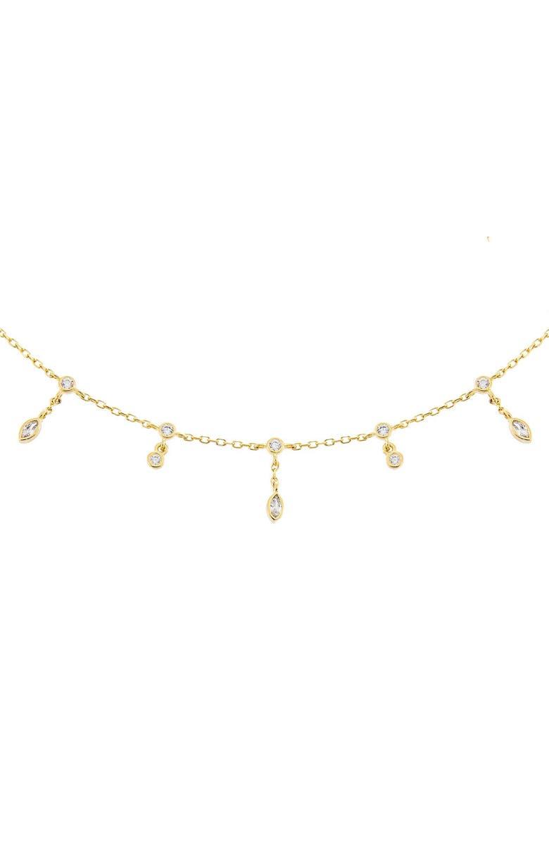 ADINA'S JEWELS Cubic Zirconia Bezel Drop Choker, Main, color, GOLD