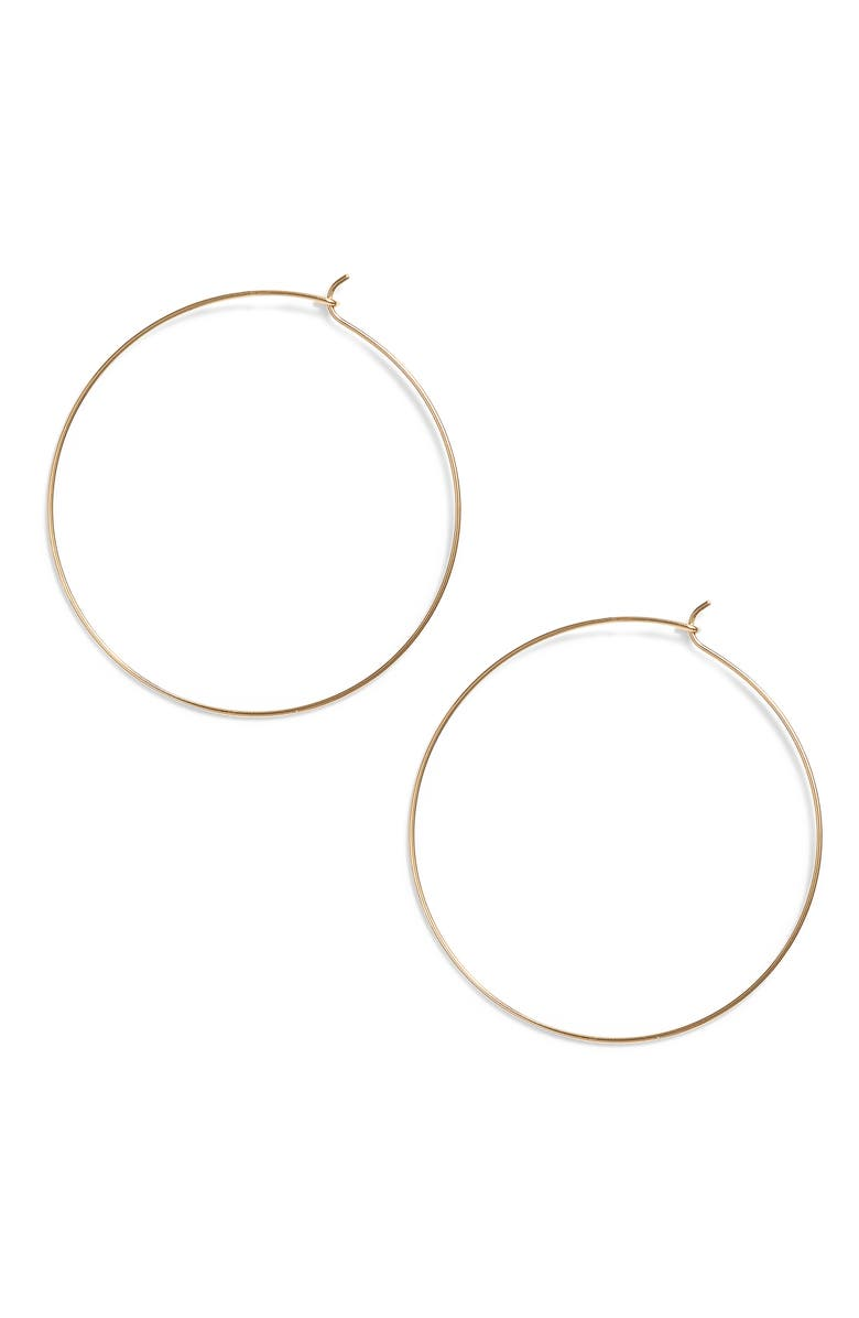 ARGENTO VIVO Thin Hoop Earrings, Main, color, GOLD
