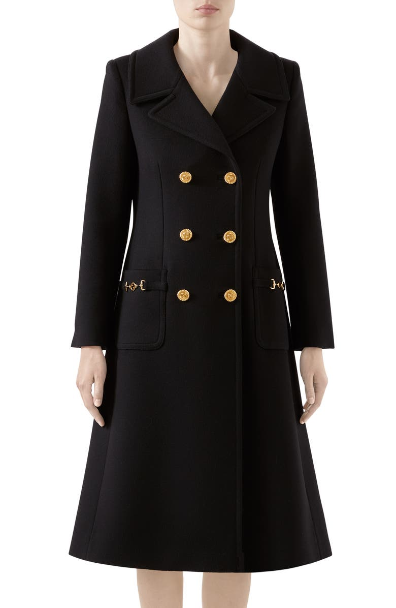 GUCCI Double Breasted Wool Coat, Main, color, BLACK