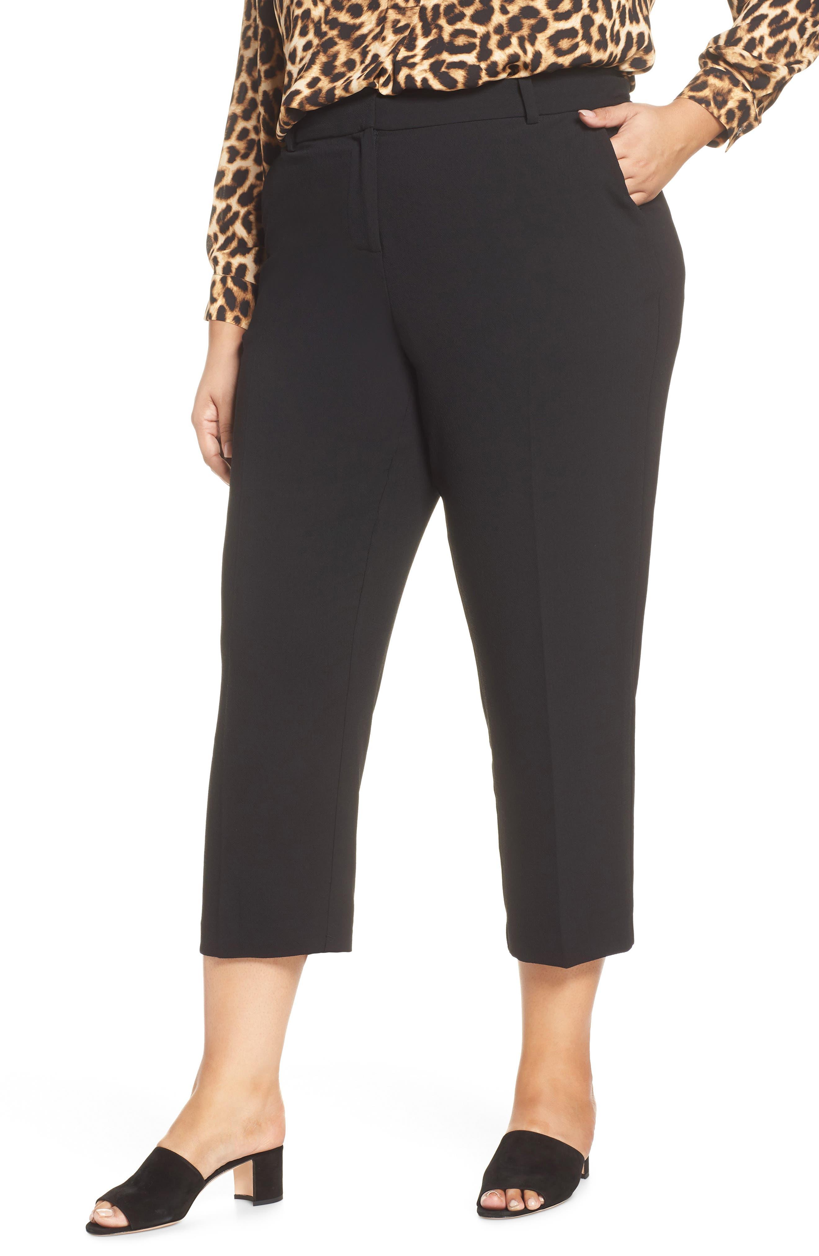 ,                             Parisian Crepe Trousers,                             Main thumbnail 1, color,                             RICH BLACK