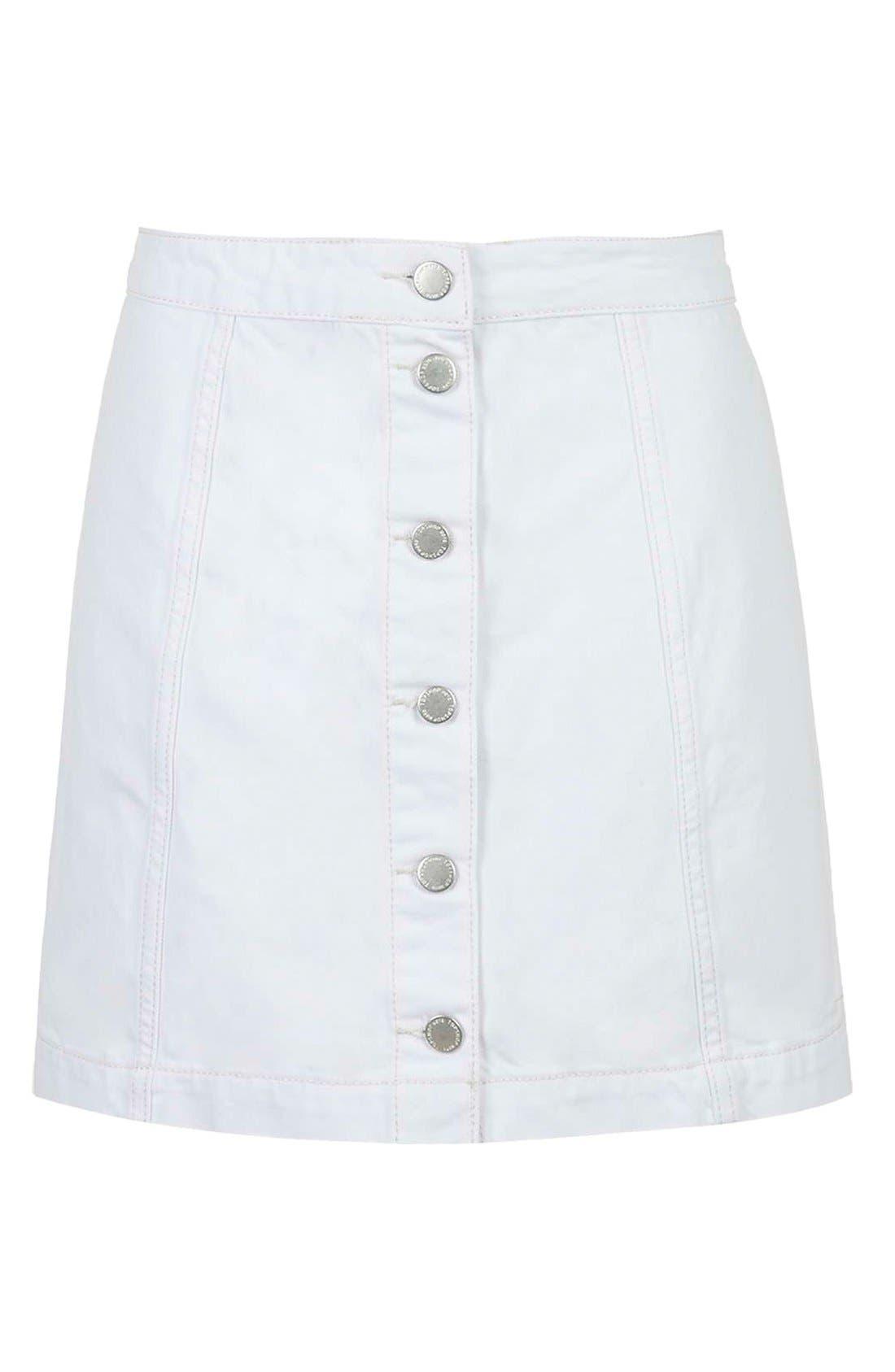 ,                             Moto Button Front Denim Skirt,                             Alternate thumbnail 6, color,                             100