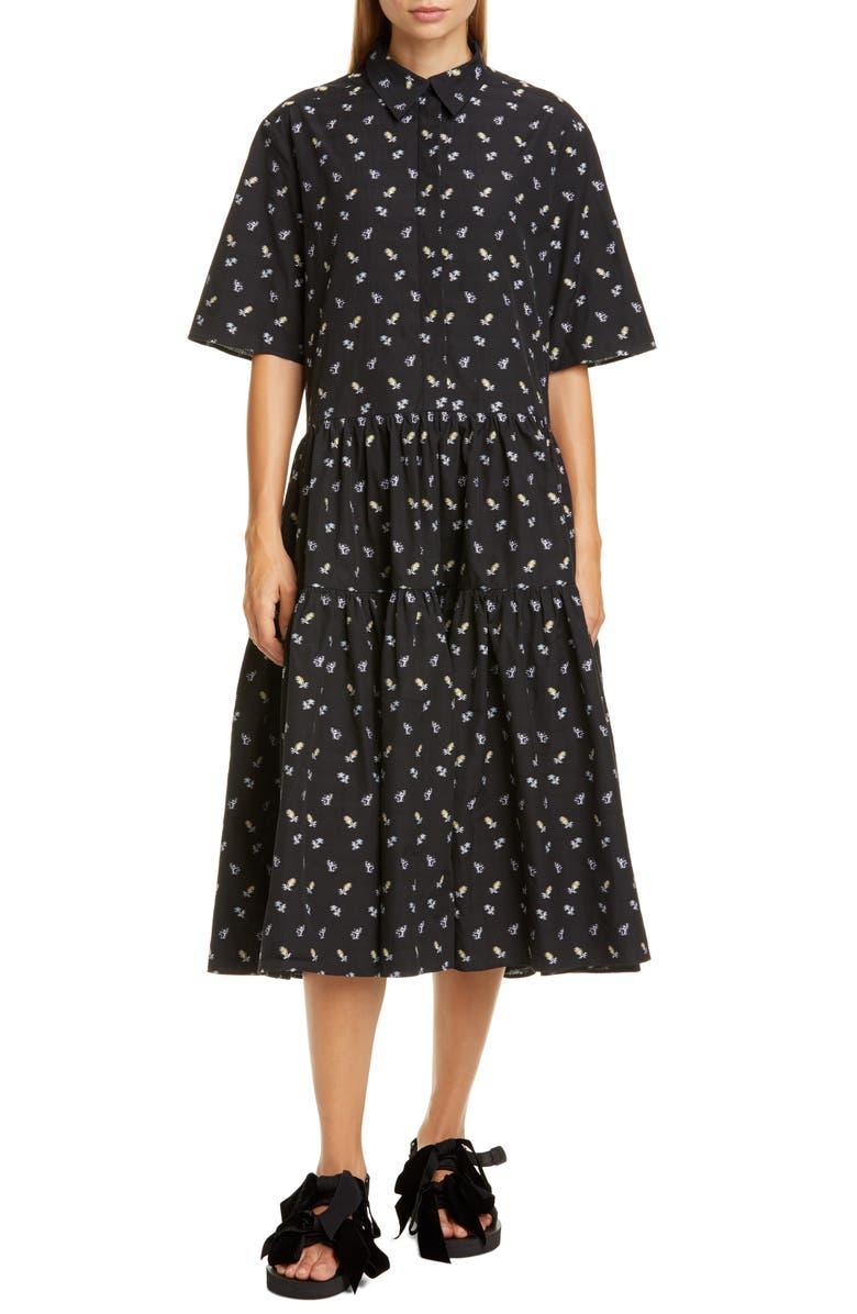 CECILIE BAHNSEN Primrose Floral Cotton Poplin Midi Shirtdress, Main, color, BLACK/ LIGHT BLUE