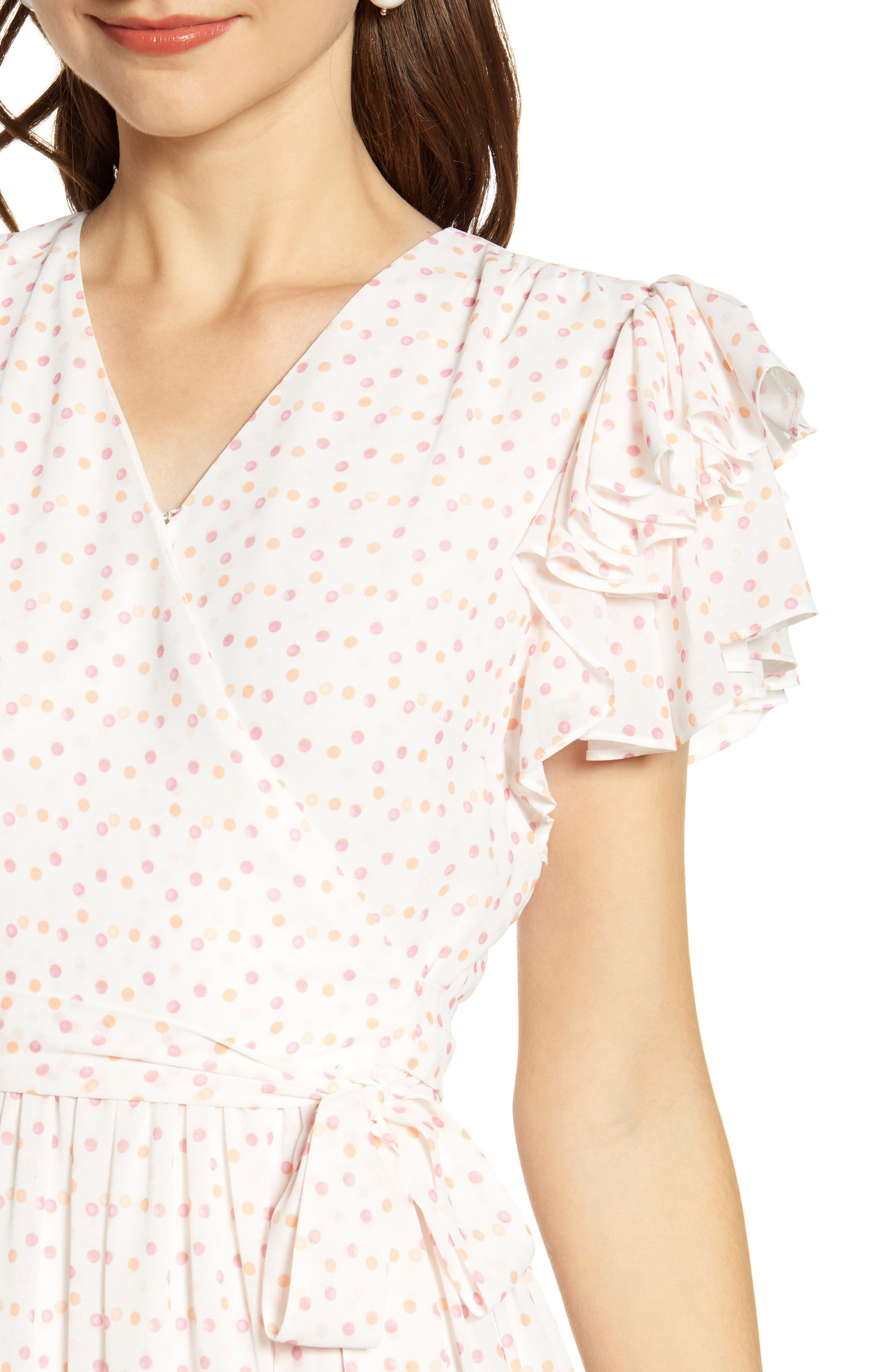 ,                             Tiered Ruffle Sleeve Dress,                             Alternate thumbnail 6, color,                             WHITE PAINTED DOT