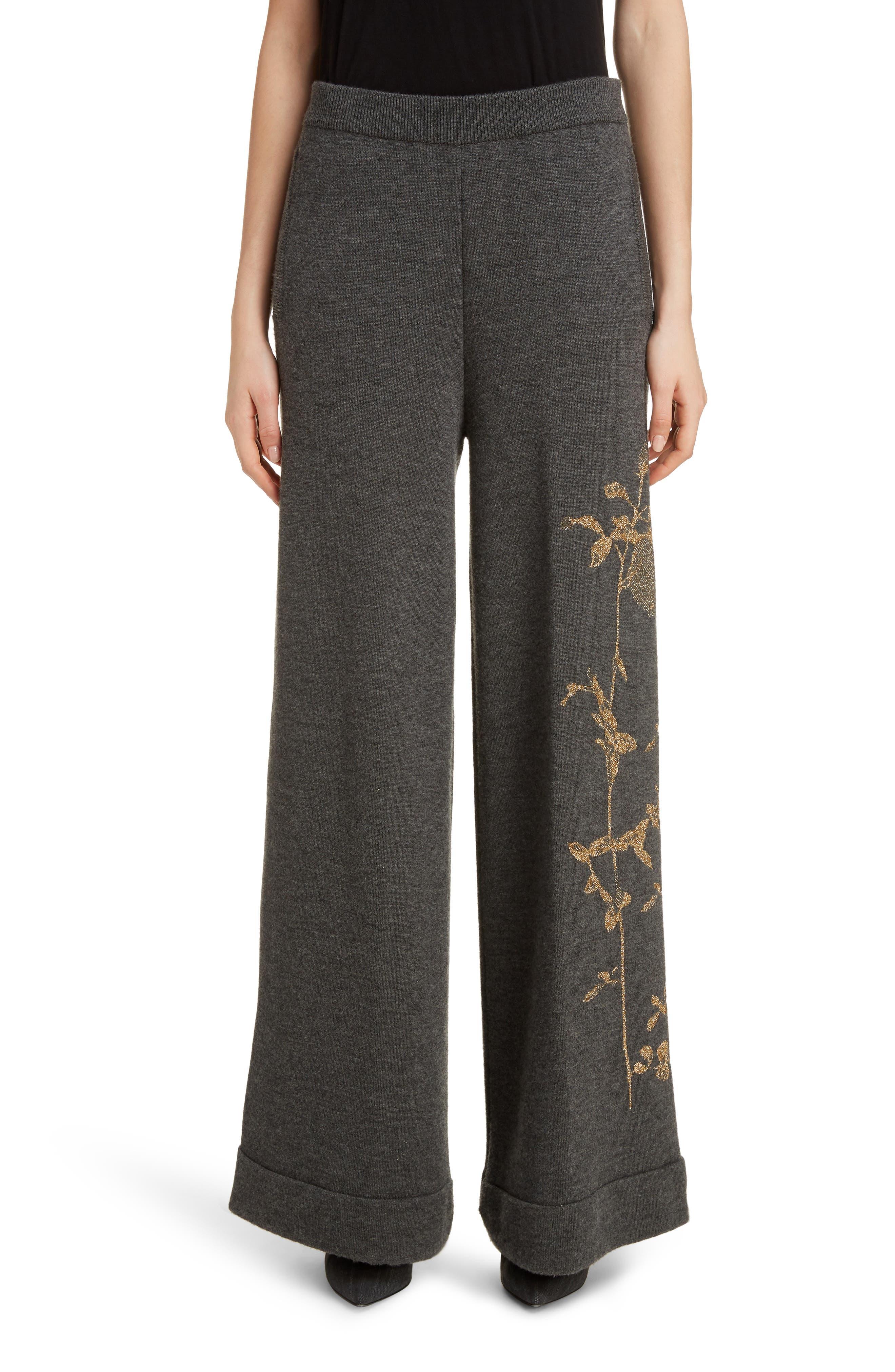 Dries Van Noten Pants Target Metallic Rose Merino Wool Blend Pants
