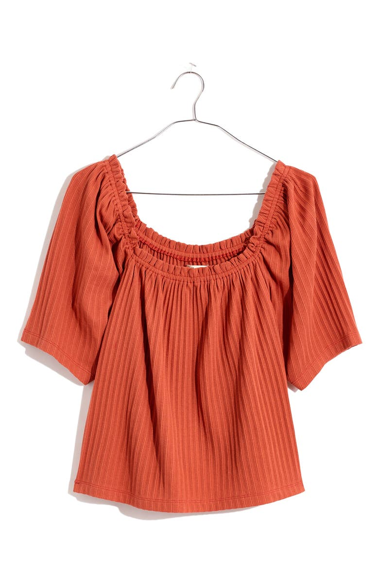 MADEWELL Pointelle Knit Peasant Top, Main, color, AFTERGLOW RED