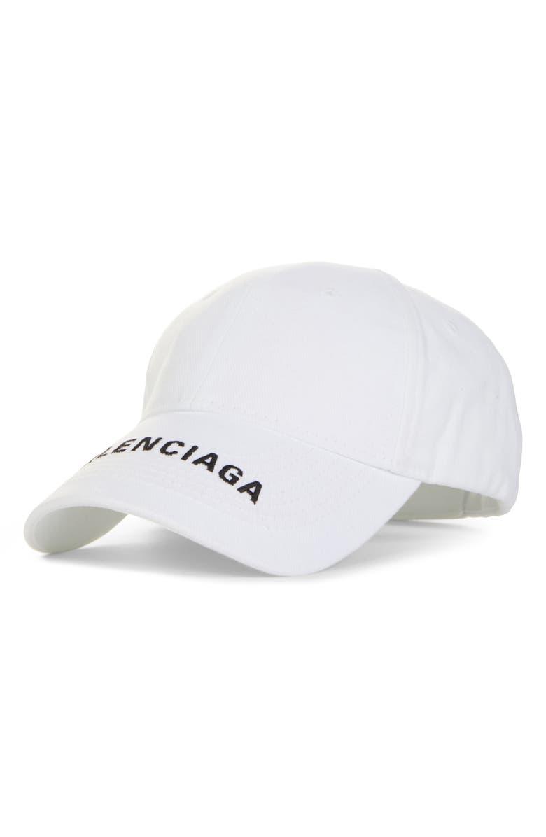 BALENCIAGA Logo Brim Hat, Main, color, WHITE/ BLACK