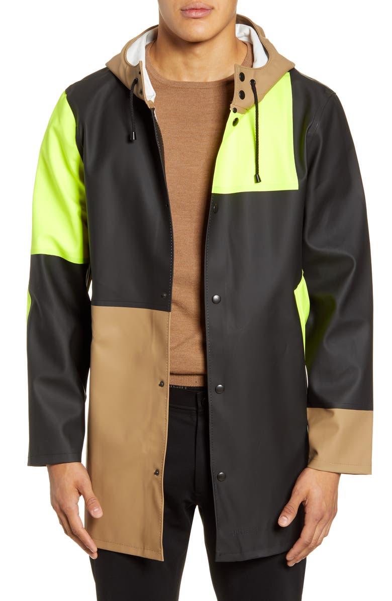 STUTTERHEIM Patchwork Waterproof Hooded Raincoat, Main, color, TOBACCO