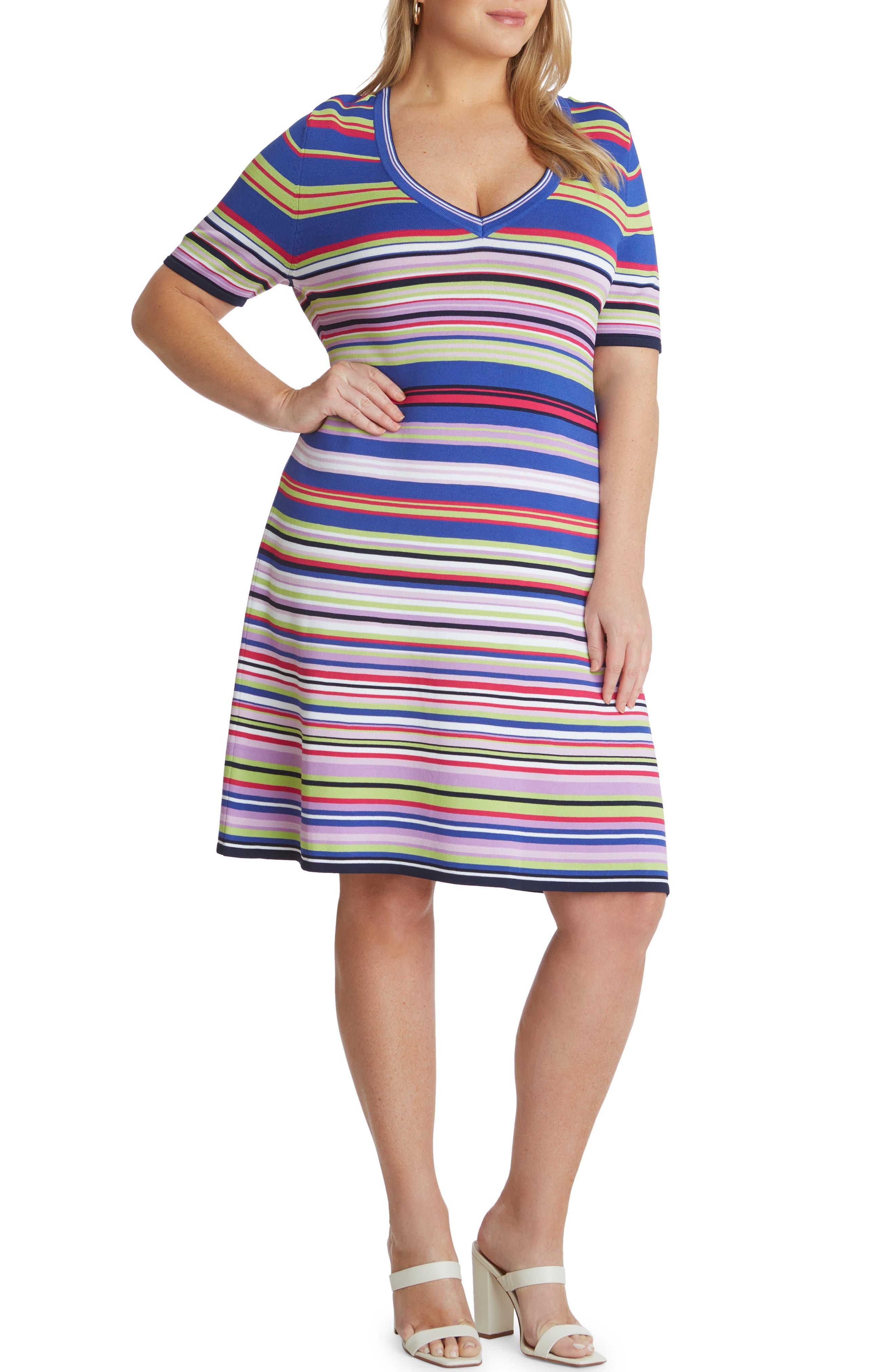 Stripe Short Sleeve Knit Dress