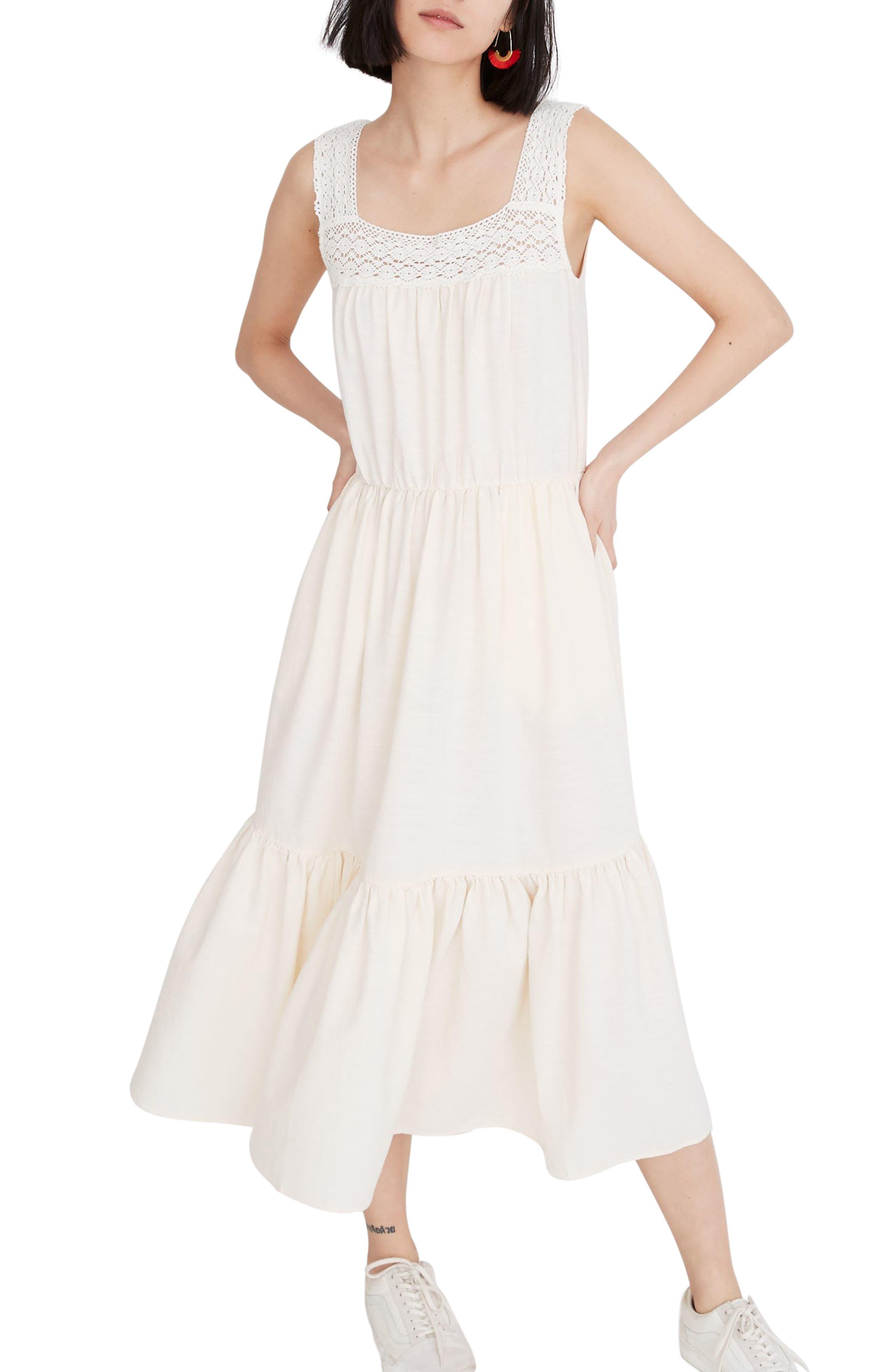 Madewell Crochet Strap Tiered Midi Dress, Ivory