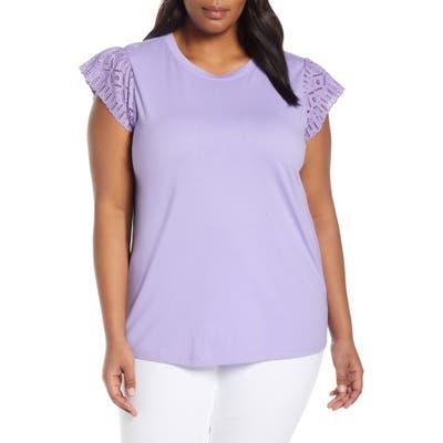 Plus Size Kors Michael Kors Eyelet Sleeve Cotton Tee, Purple