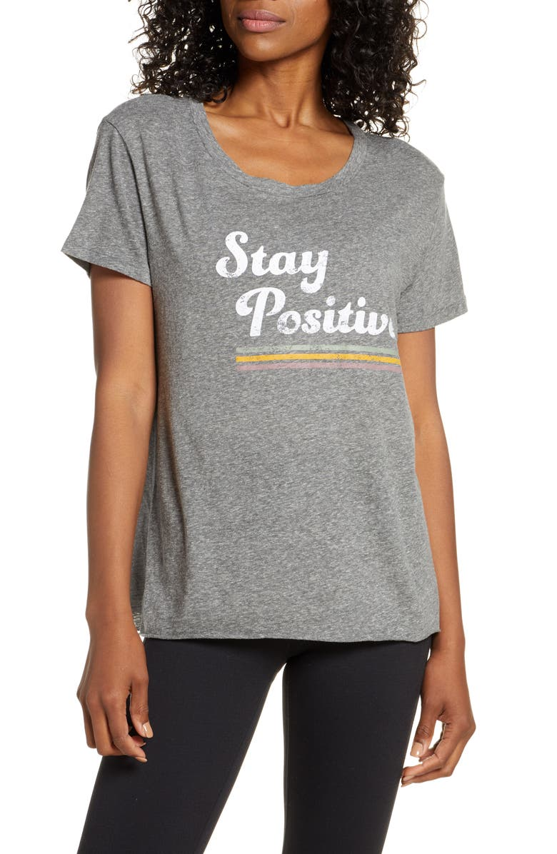 GOOD HYOUMAN Dakota Stay Positive Graphic Tee, Main, color, HEATHER
