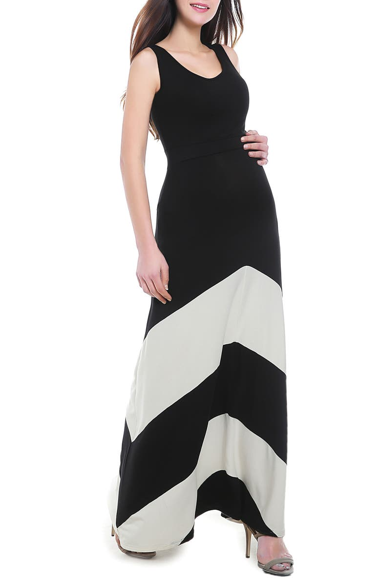KIMI AND KAI Sally Maternity Maxi Dress, Main, color, BLACK/ WHITE