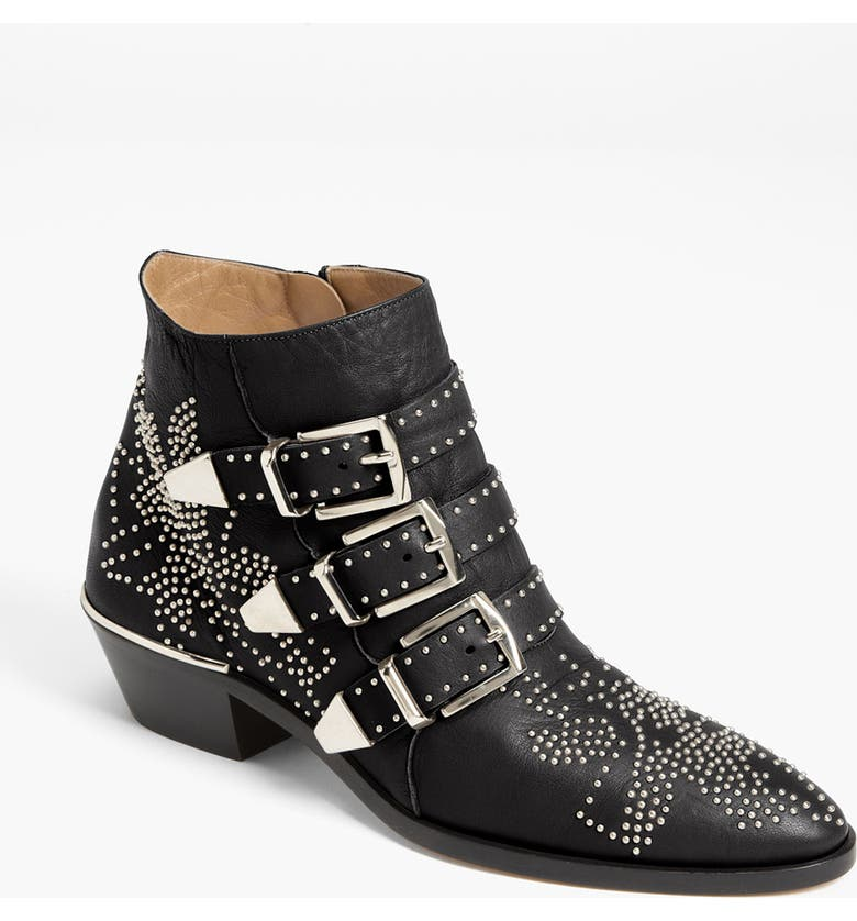 CHLOÉ 'Suzanna' Stud Buckle Bootie, Main, color, 001