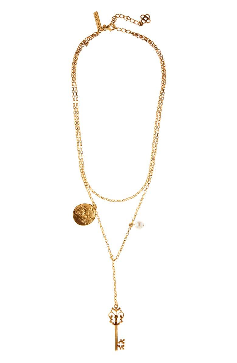 OSCAR DE LA RENTA Charm Key Layered Y-Necklace, Main, color, 710