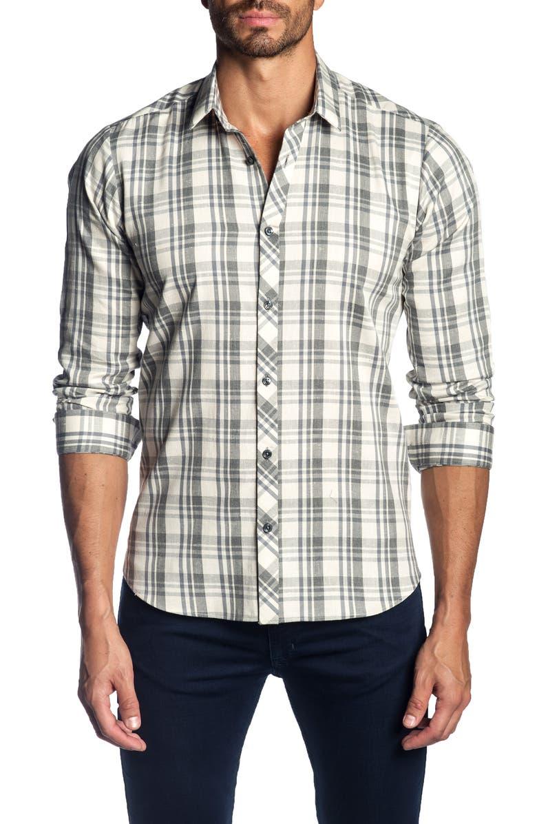 JARED LANG Trim Fit Plaid Sport Shirt, Main, color, 075