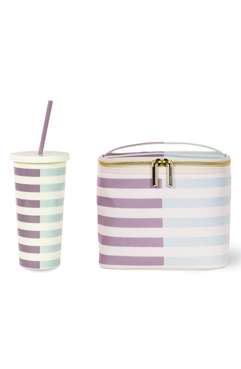 KATE SPADE NEW YORK two-tone stripe insulated tumbler & insulated lunch tote set, Main, color, 500