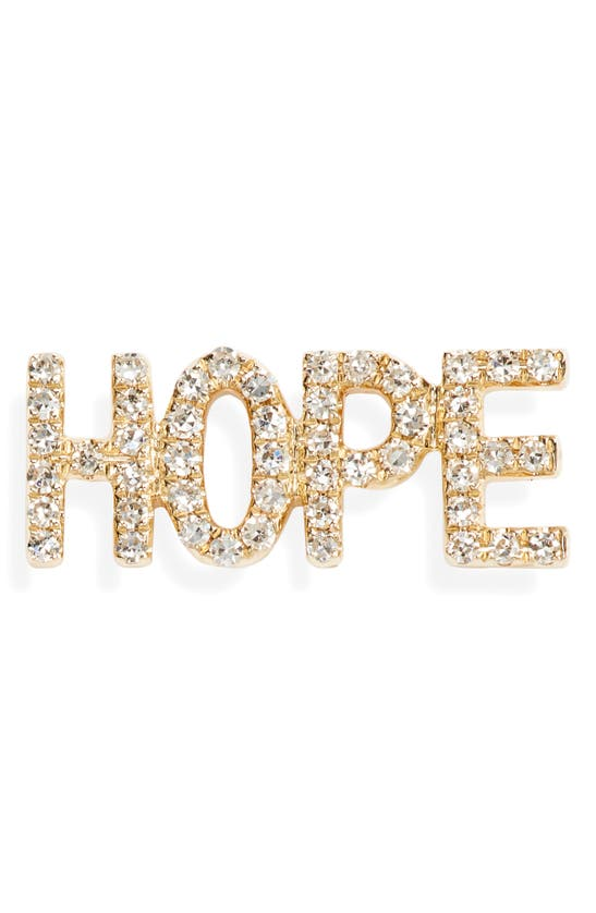 Ef Collection Hope Single Diamond Stud Earring In Yellow Gold/ Dia