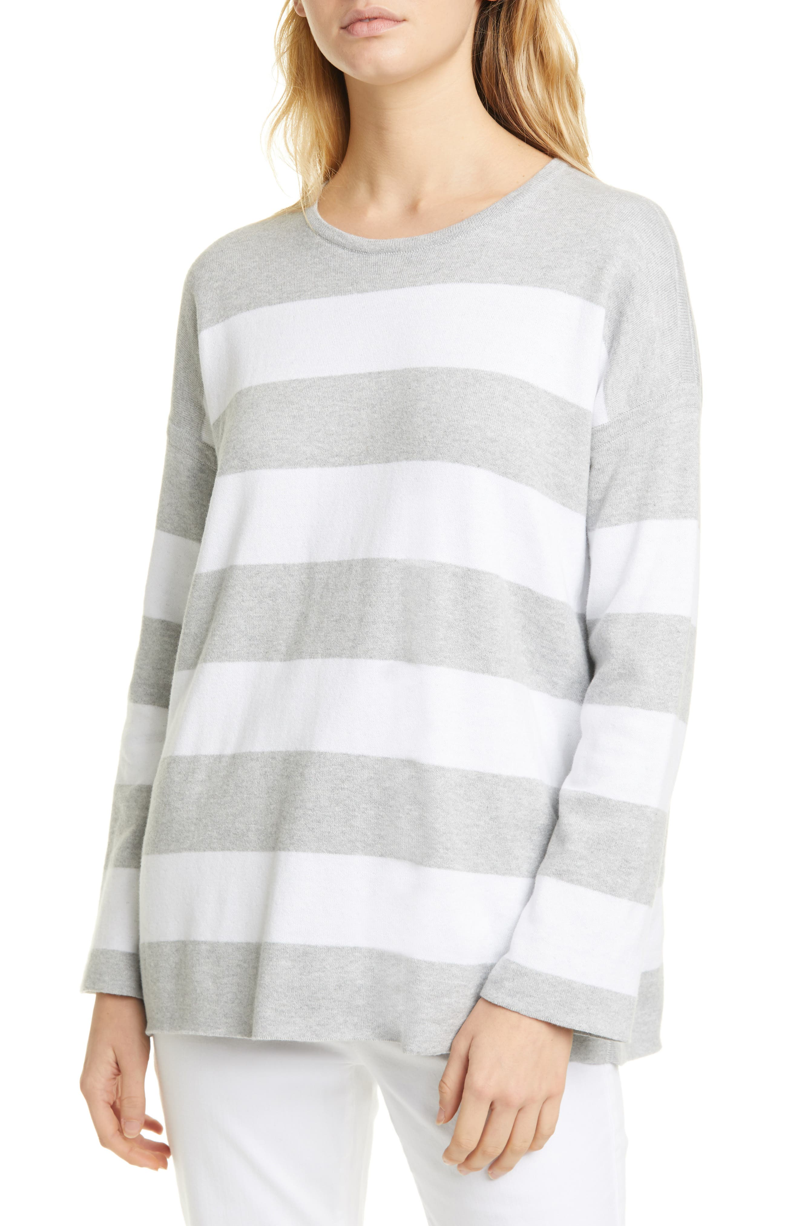 Image of Eileen Fisher Stripe Boxy Sweater