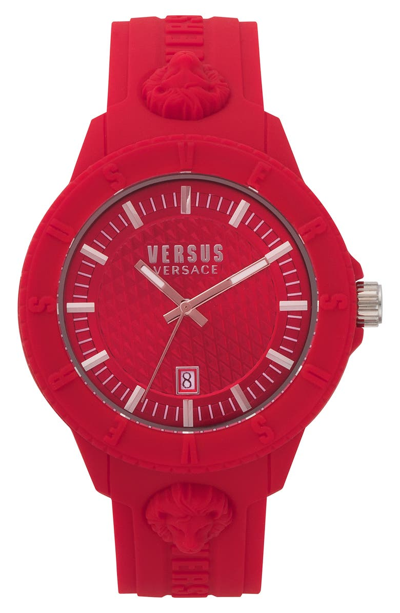 VERSUS VERSACE VERSUS by Versace Tokyo Silicone Strap Watch, 43mm, Main, color, RED