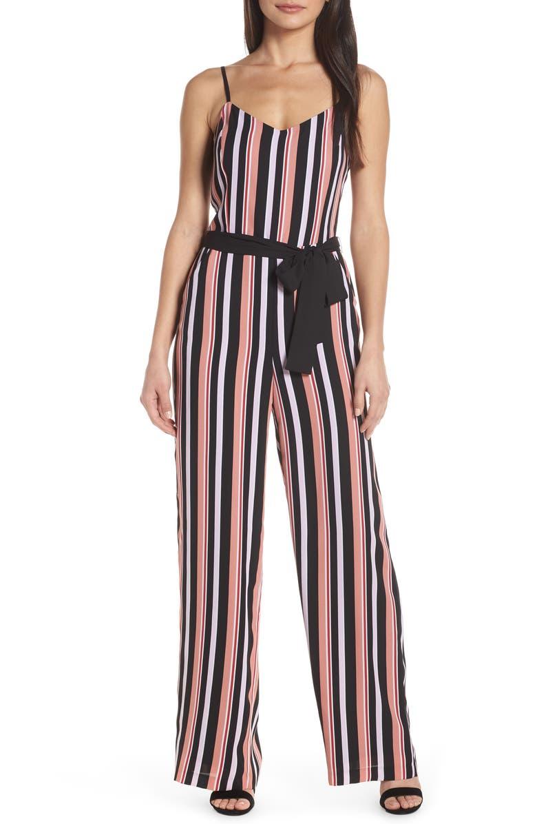 FOREST LILY Stripe Jumpsuit, Main, color, BLACK COMBO