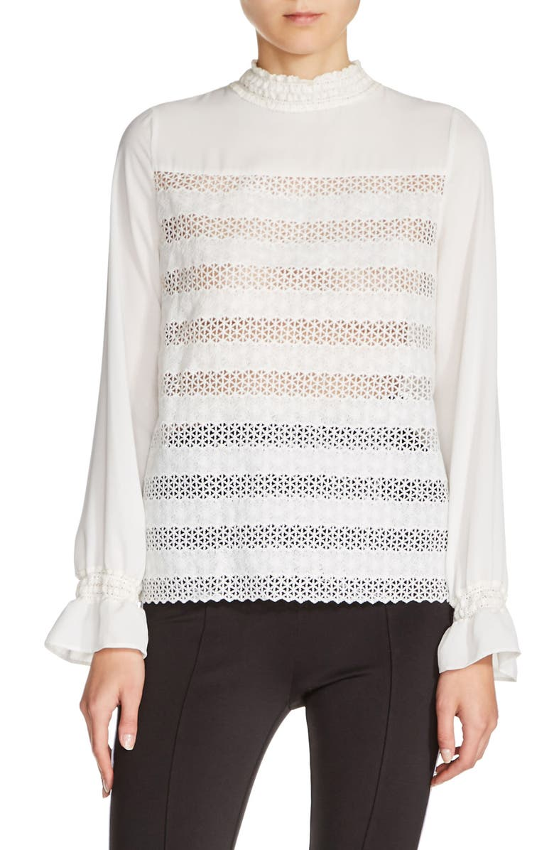 MAJE Embroidered Lace Top, Main, color, 101