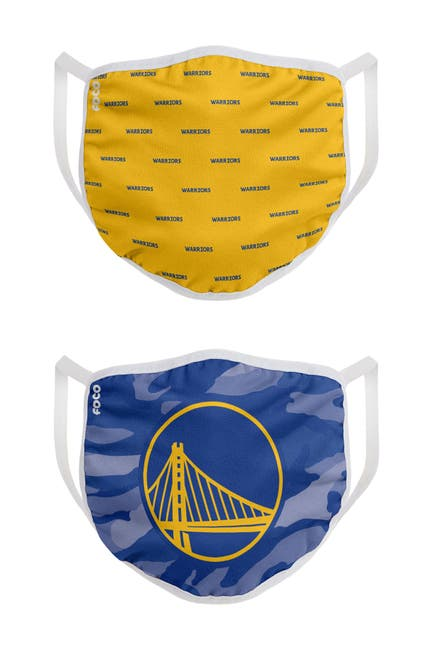 Image of FOCO NBA Golden State Warriors Clutch Printed Face Cover - Pack of 2