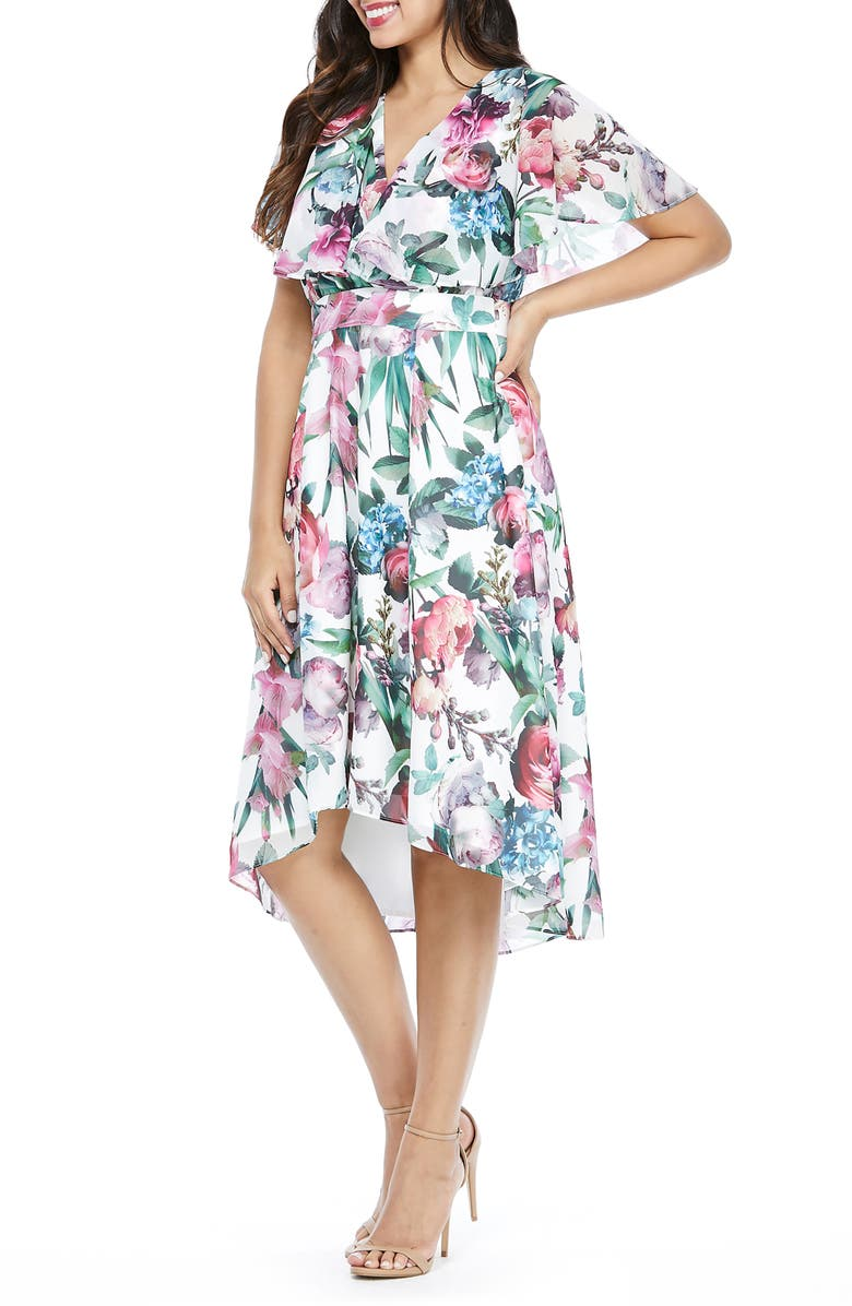 MAGGY LONDON Floral Capelet Sleeve Dress, Main, color, 900