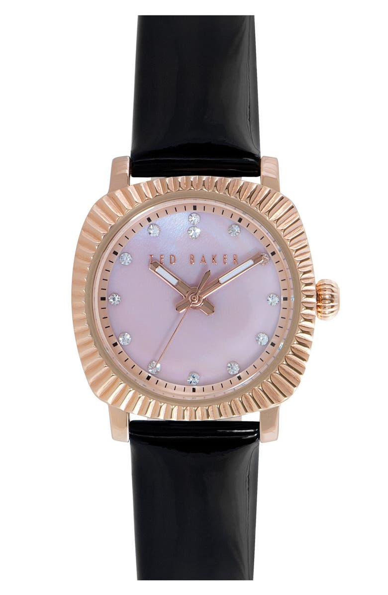 TED BAKER LONDON 'Mini Jewels' Crystal Index Patent Leather Strap Watch, 26mm, Main, color, 001