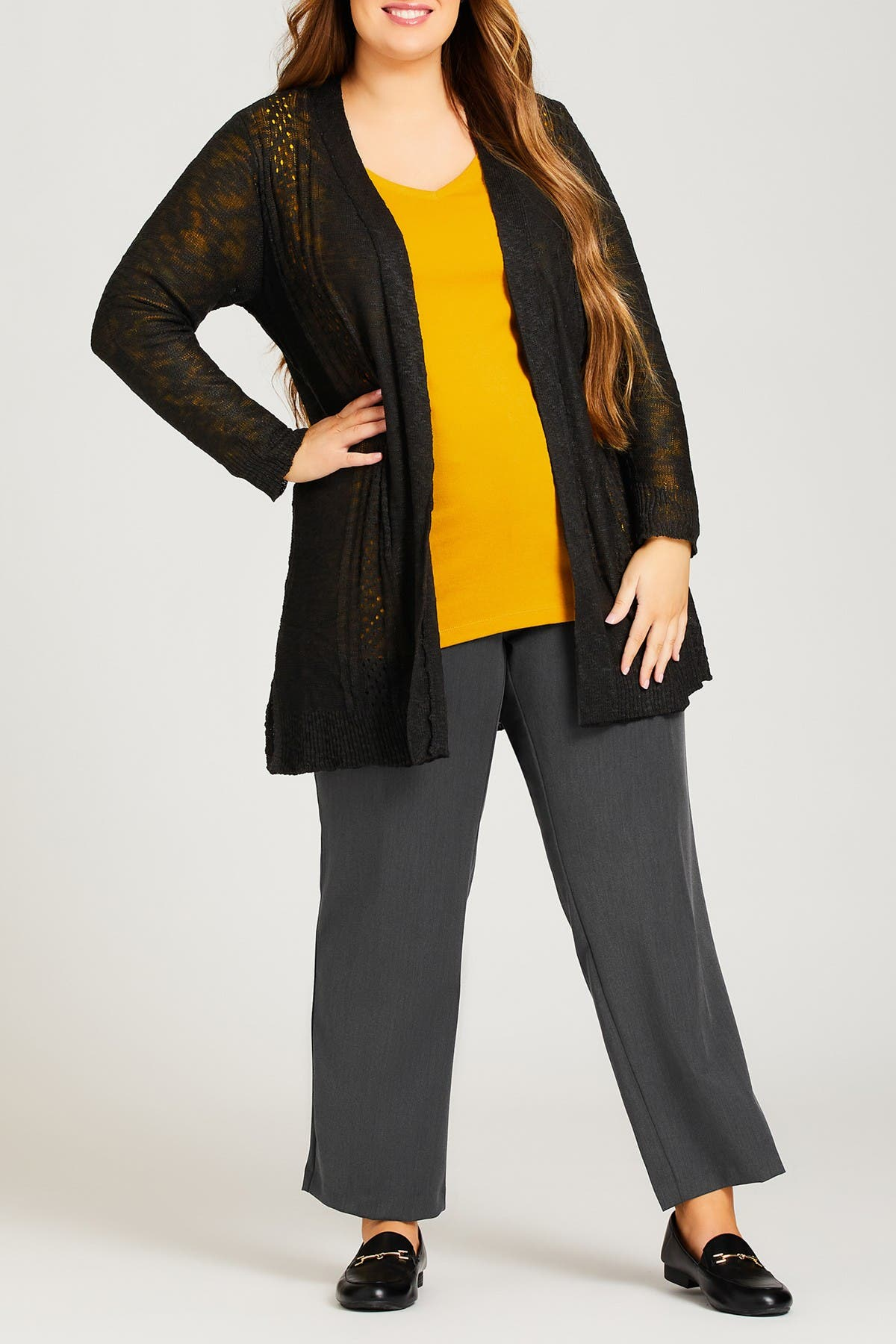 Image of AVENUE Pointelle Accented Cardigan
