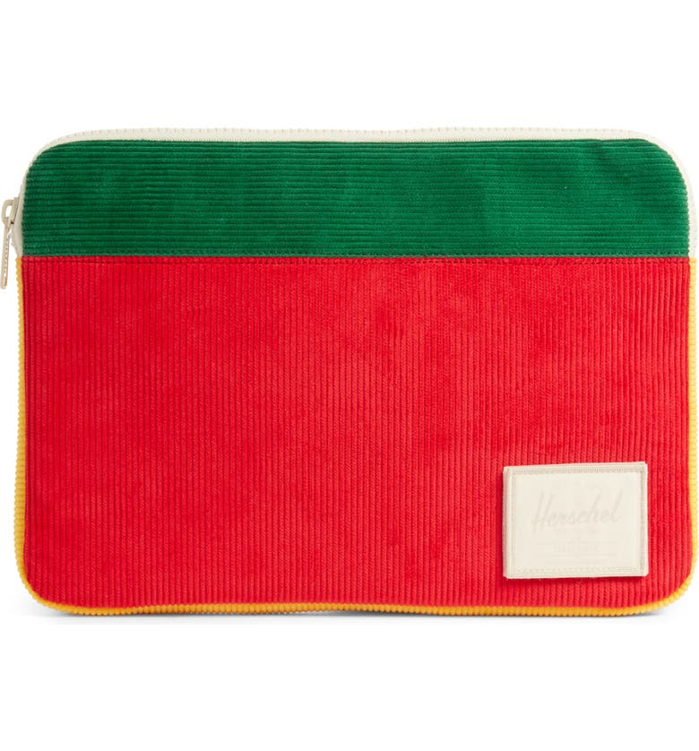 "HERSCHEL SUPPLY CO. Anchor 13"" Laptop Sleeve, Main, color, RED/ GREEN/ YELLOW"