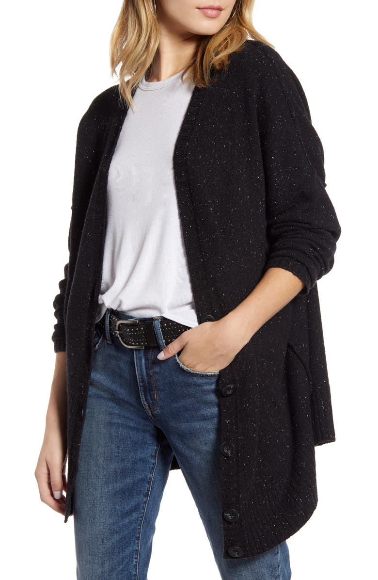 TREASURE & BOND Reverse Stitch Cardigan, Main, color, BLACK NEP