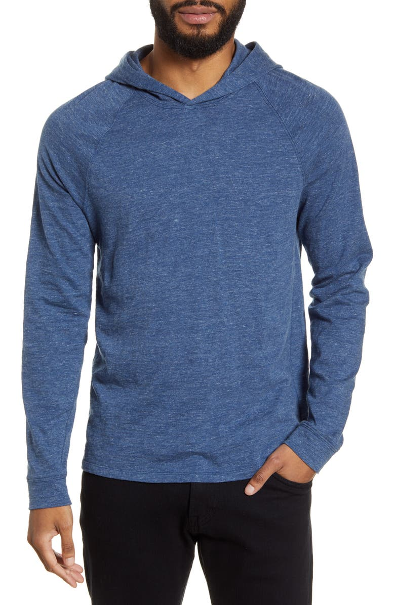 VINCE Slim Fit Pullover Hoodie, Main, color, HEATHER NAVY