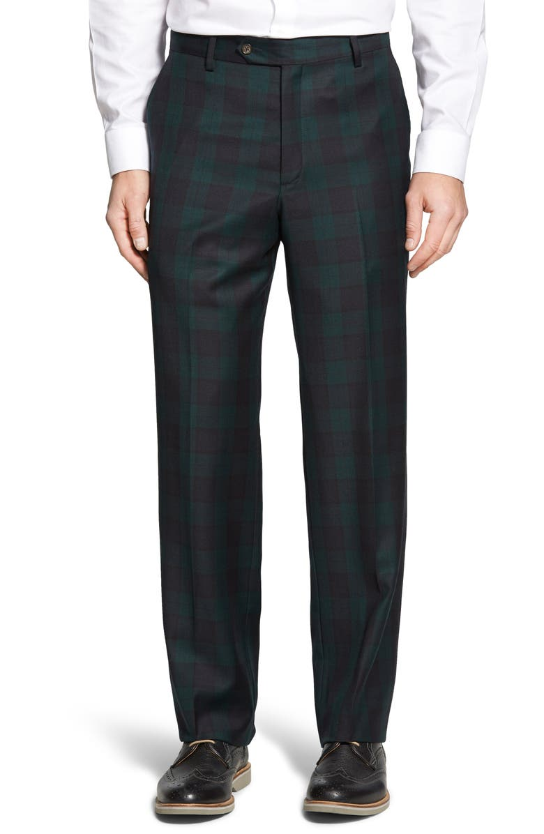 BERLE Flat Front Classic Fit Plaid Wool Trousers, Main, color, GREEN