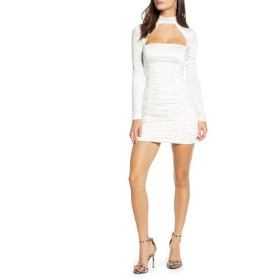 Tiger Mist Elianna Cutout Ruched Long Sleeve Dress, White