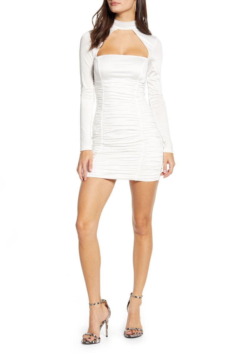 TIGER MIST Elianna Cutout Ruched Long Sleeve Dress, Main, color, WHITE