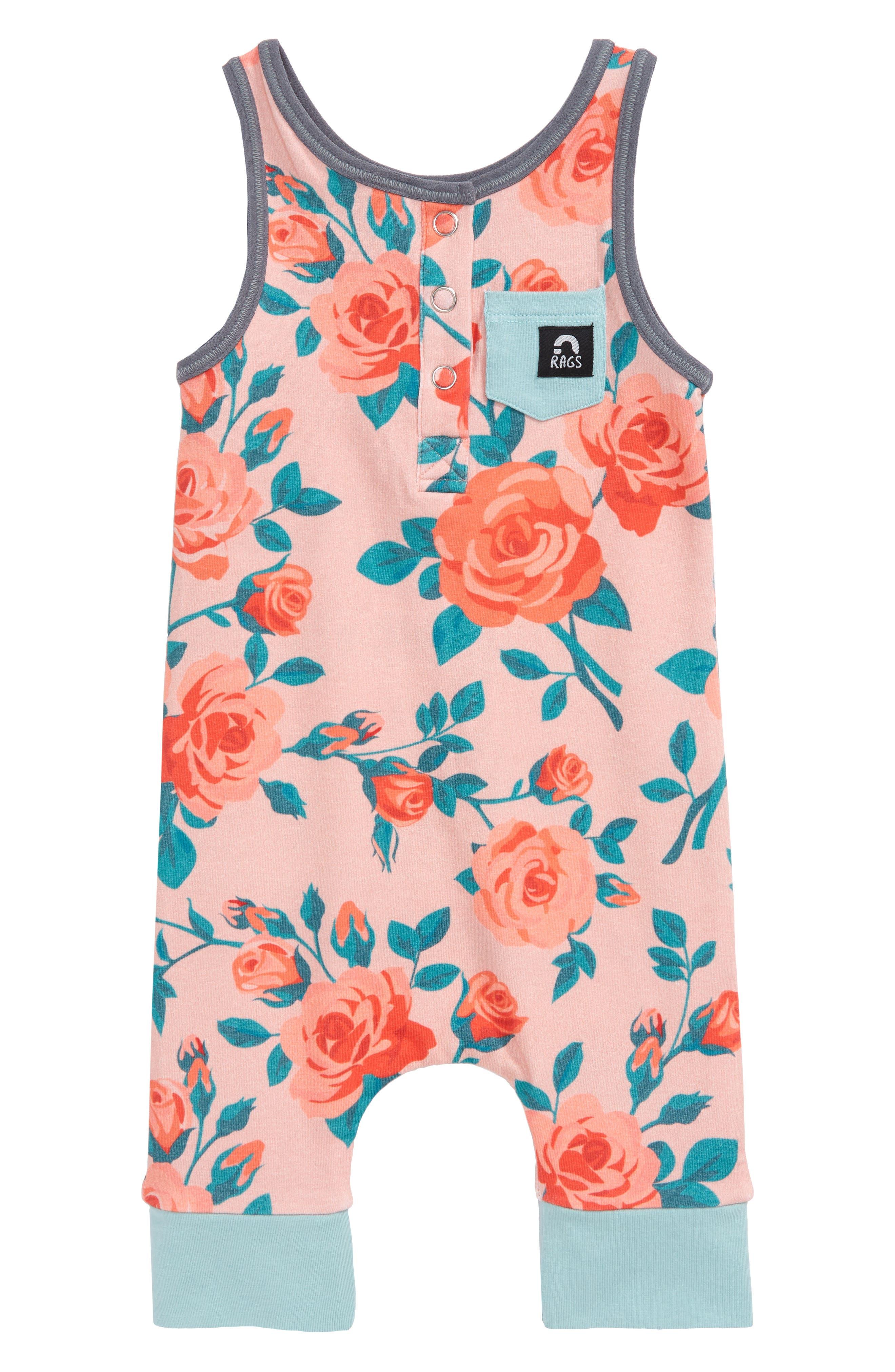 Infant Girls Rags Rose Henley Tank Romper Size 1218M  Pink