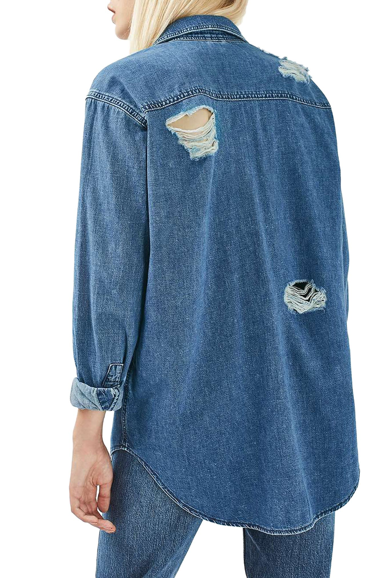,                             Moto Elton Ripped Denim Shirt,                             Alternate thumbnail 2, color,                             400