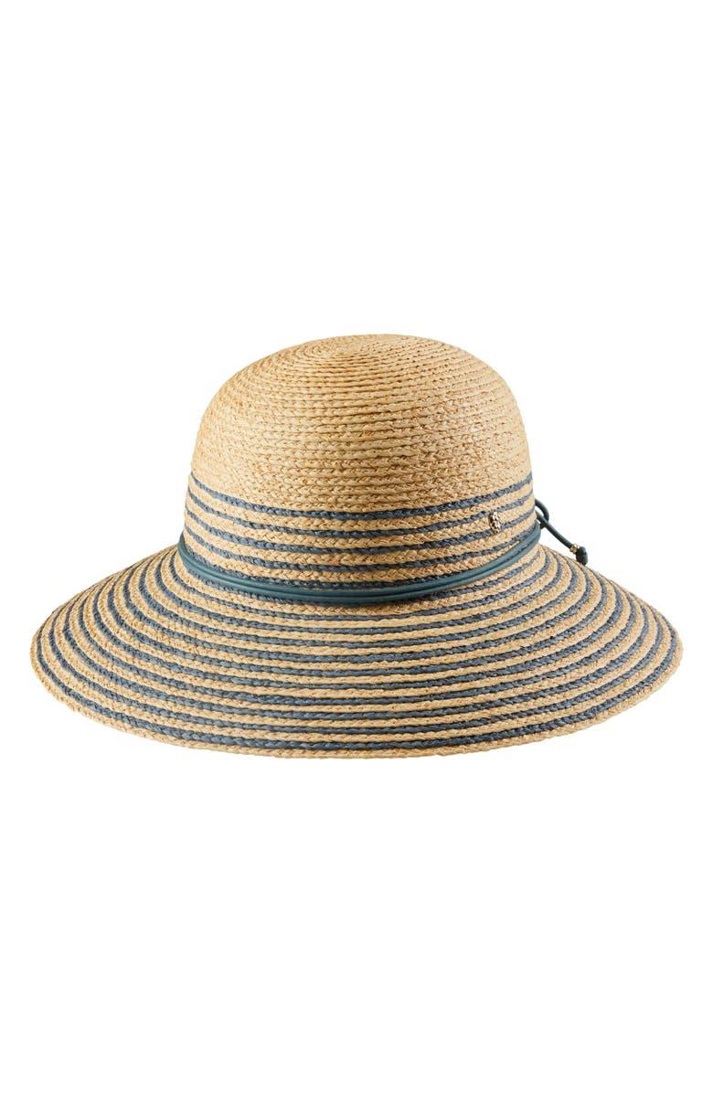 HELEN KAMINSKI Riley Stripe Raffia Hat, Main, color, NATURAL/ MISTY LAKE