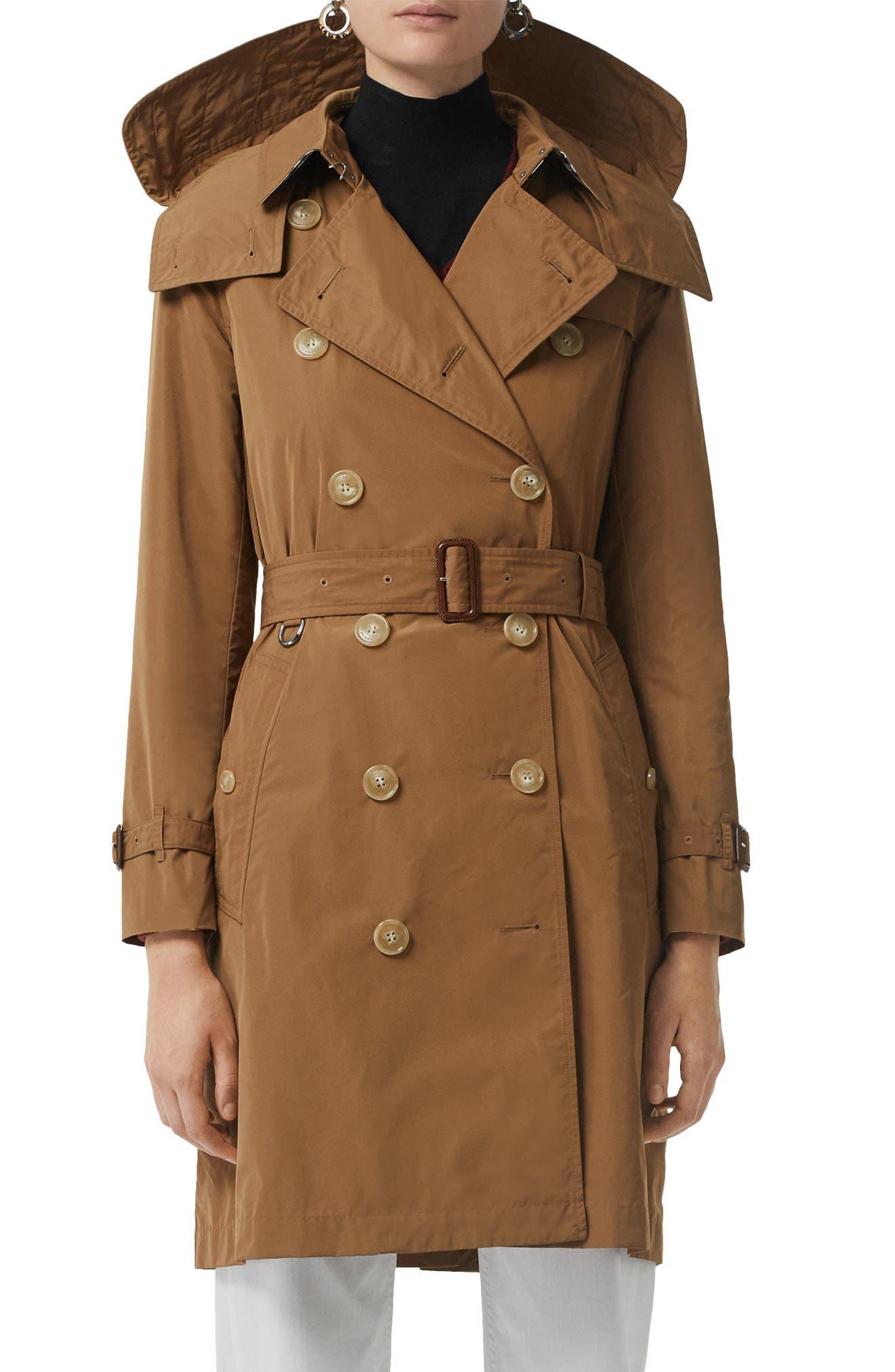 Burberry Kensington Trench Coat with Detachable Hood