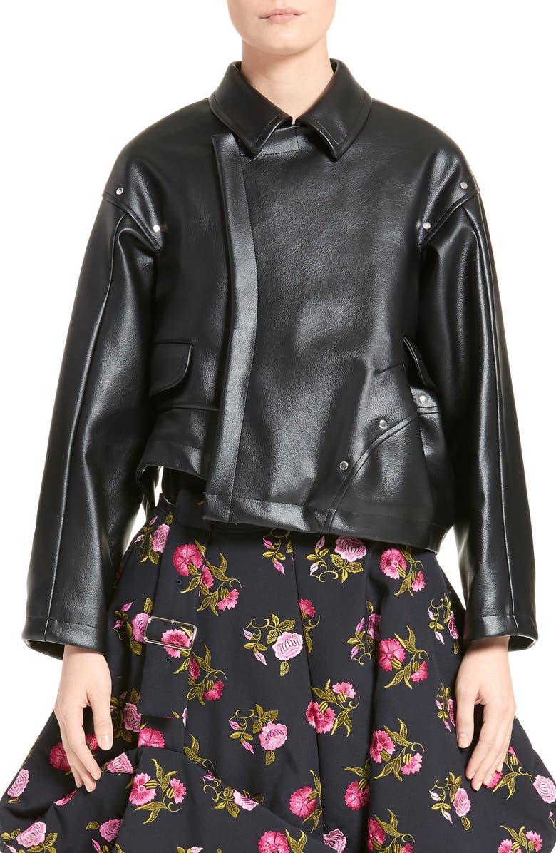 COMME DES GARÇONS Asymmetrical Faux Leather Jacket, Main, color, 001