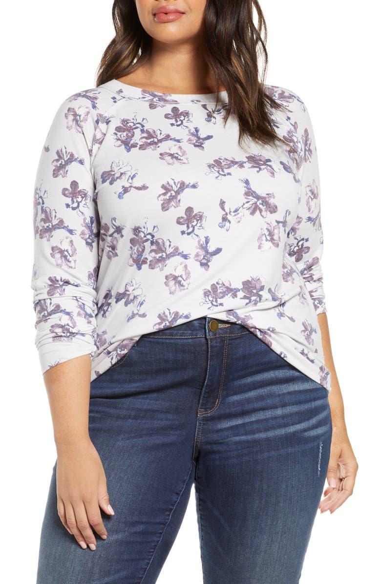 CASLON<SUP>®</SUP> Cozy Sweatshirt, Main, color, IVORY- PURPLE B LENA FLORAL